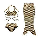 3 Pièces Queue de Sirène Maillot de Bain Princesse Mermaid Tail Bikini 3 Couleurs pour Fille