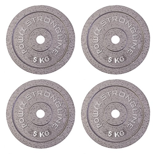 Dischi pesi ghisa 20 kg set - Ideali per manubri e bilancieri con braccio da 30 mm - (4 x 5 kg / Argento)