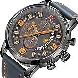 Montres Hommes Sports Montres Chronographe Date Bracelet En Cuir Quartz Imperméable À L'eau Montre-Bracelet De Mode pour le Cadeau de Famille