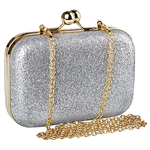 Beautyshow Bolso de Noche Para Mujer, Bolso de mano PU Brillo Brillante Bling Bolso de Mensajero de...