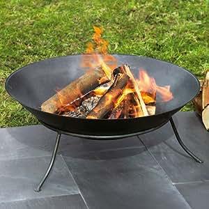 Récipient en fer pour feu d'extérieur, 60 cm de diamètre, noir
