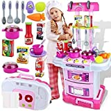 Techhark 3 in 1 Little Chef Kids Kitchen Play Set with Light & Sound Cooking Kitchen Set Play Toy (Pink Big)