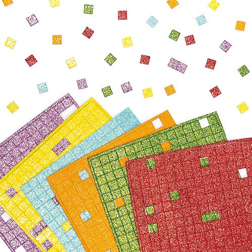 Glitter Foam Mosaic Stickers 6 Assorted Colours, 1cm Self Adhesive Squares, Kid's Craft Activities, Embellishments for Decorating, Scapbooking & Card Making (Pack of 1980)