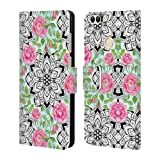 Official Micklyn Le Feuvre Roses and Mandalas Patterns 6 Leather Book Wallet Case...