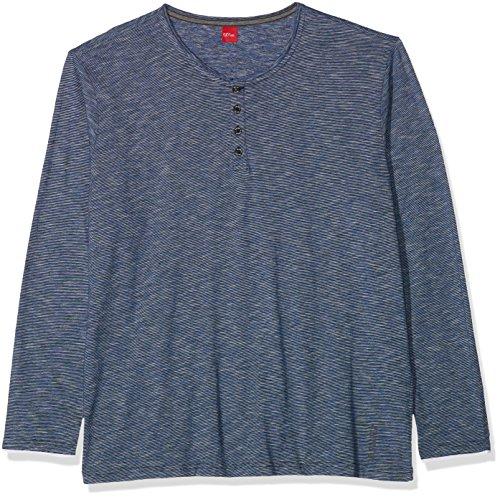 s.Oliver Big Size Herren Langarmshirt Blau (Storm Blue Melange 59W0)