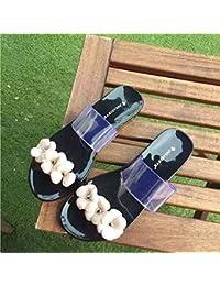 Sandalias planas, calzado de playa, Rocío dedo jelly sandalias, zapatillas de plástico negro,36