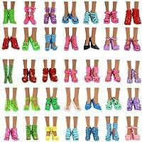 Miunana 10 Pares Zapatos Atractivos Alto Tacón Zapatitos Estilo AL Azar Accesorios para Muñeca Barbie Doll