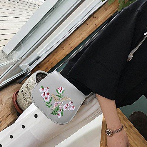 Familizo Sacchetti di spalla del messaggero delle donne Sacchetti di spalla del fiore del ricamo Borsa Borse piccole del corpo Grigio