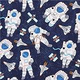 Marineblauer Stoff mit Astronaut Rakete Satellit Stoff