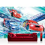 Vlies Fototapete 312x219cm PREMIUM PLUS Wand Foto Tapete Wand Bild Vliestapete - Disney Tapete Cars (PIXAR) Autos Cartoons Illustration Kindertapete Jungen bunt - no. 1272
