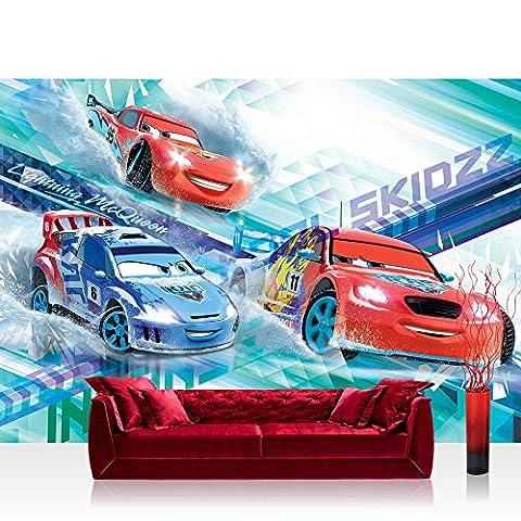 Vlies Fototapete 312x219cm PREMIUM PLUS Wand Foto Tapete Wand Bild Vliestapete - Disney Tapete Cars (PIXAR) Autos Cartoons Illustration Kindertapete Jungen bunt - no.