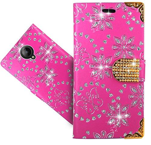 Lenovo Vibe C2 Handy Tasche, FoneExpert® Bling Luxus Diamant Wallet Case Flip Cover Hüllen Etui Hülle Ledertasche Lederhülle Schutzhülle Für Lenovo Vibe C2