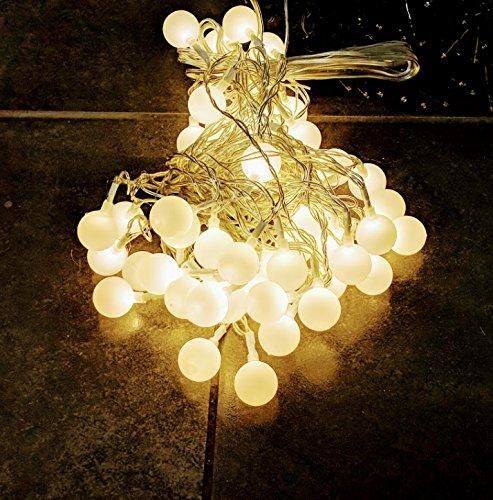 Party Lichterkette warmweiß 15m mit 80 LED Kugel Strombetrieben IP44 für Balkon, Terrasse, Biergarten oder Party Keller (80LED WW)