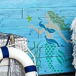Meerjungfrau Schablone Badezimmer Schlafzimmer Nautisch Meer Thema Dekoration Farbe auf Wände und auch Individualisieren Stoffe, Textilien & Möbel wiederverwendbar - S/ 17X22CM