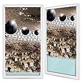 Verdunkelungsrollo Rollos Fensterrollos, Montage ohne Bohren | Welt-der-Träume| 3D Puzzle Tunnel mit Schwarzen Kugeln | F5 (100cm. x 200cm.) | Blackout Roller Blinds FTB20160F5-AW | Abstraktion Braun Kugeln Puzzeln Tunnel 3D Blitz