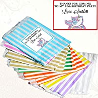 Paper Striped Sweet Bags with Unicorn Birthday Stickers – 100/50/20/10/1 Personalised Sweet Bags for Birthday Party - favour bags - Unicorn PL02