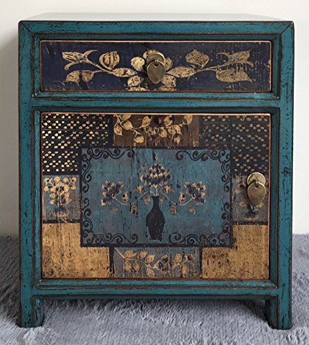 Opium Outlet Chinese Box Cabinet Colonial Style Chest of Drawers Bedside  Table Shabby Chic Vintage Style Multi-Coloured Motifs - Design 6