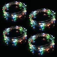 Xcellent Global Cadena de Luces Juego de 4 Piezas de 40 Micro LEDS RGB con Baterías 13 pies Alambre de Cobre Impermeable Luces para Navidad Fiesta Boda, Rojo Verde Azul Amarillo LD136