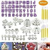 WisFox Torta di Sugarcraft fondente di 84pcs che decorano il corredo di attrezzo di modellazione di denti di taglio di DIY tagliatori a lettere & Tagliapasta Rosa Stampi Cookie taglierina