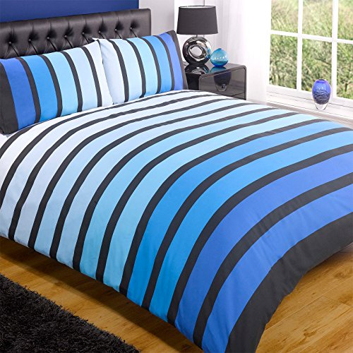 Price comparison product image Just Contempo Striped Duvet Cover Set,  King,  Blue