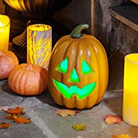 Lights4fun Colour Changing LED Battery Operated Halloween Pumpkin Light