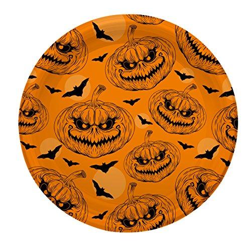 Halloween Plastik Teller mit Kürbis Dekor - 23 cm - 4 - Kürbisse Halloween-dekor