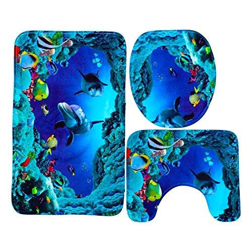 favourall rutschfestes Teppichset, Badezimmer-rutschfeste Teppich-Set, Badezimmer Teppich Set, 3 Stück Matte rutschfest Bad-Teppich + Pedestal-Teppich + Toiletten-Abdeckung, Blaue Delfine