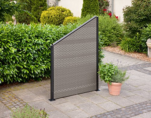 greemotion 429191 Rattanwand, Schrägwand Aluminium/Polyethylengeflecht, 180 x 120 x 5 cm, grau bicolor