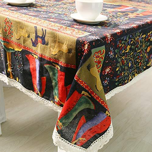 Tablecloth Tischdecke aus Baumwolle gewebt Bedruckte Cartoon Home/Outdoor/Party Größe: 60 * 60-140 * 250 Weihnachten Toalha De Manteles para Mesa Bugaboo, 140 x 220 (Baumwolle Gewebte Tischdecke)