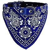UEETEK Halsband mit Tuch verstellbare Bandana Hals Tuch für Hunde Katze- Größe M (blau)