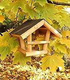 Holz-Vogelhaus Futterstation 19x19 cm Dachpappe Vogelfutterhaus Garten Balkon Terrasse