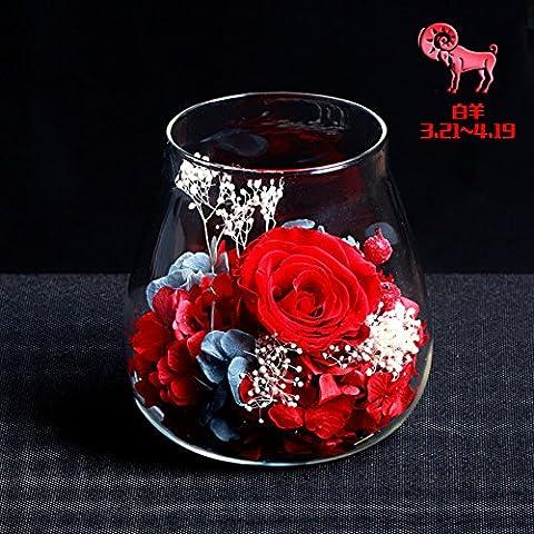 Roses Are Eternal Flower Glass Ornaments/Rose Flower Gift Box/ Birthday Gift-G