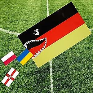 Fahnen 4 in 1 Set Haifisch Deutschland Flagge Fahne mit Gruppengegnern – gute Qualität – NEU 2016