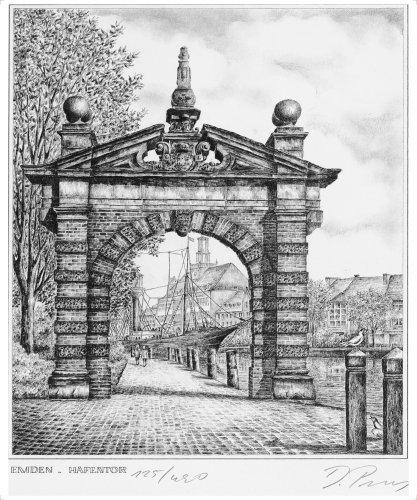 Emden Hafentor, Leinwanddruck, Kunstgrafik, Radierung, Kunstdruck