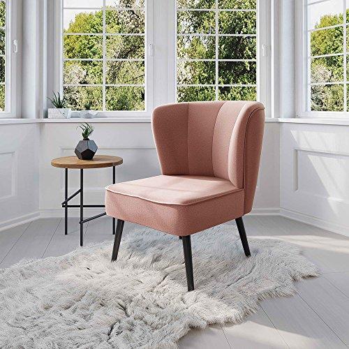 myHomery Venlo Lounge Sessel gepolstert - Polsterstuhl für Esszimmer & Wohnzimmer - Vintagesessel ohne Armlehnen - Eleganter Retro Stuhl aus Stoff - Rosa (Polsterstuhl Stoff)