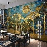 Personnalisé Mur Peinture Murale Style Chinois Abstrait Or Forêt Arbre Oiseau Photo Cerf Photo Papier Peint Salon Salon Canapé Chambre Mur Art (W)400x(H)280cm