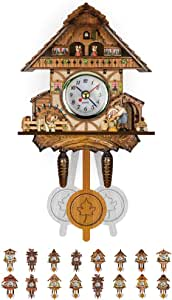 Wooden Cuckoo Clocks for Wall Authentic Black Forest Cuckoo Clock Chalet-Style 10.24 inch