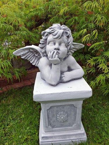 Steinfigur Engel mit Flügel Engelsbüste Putte Statue Skulptur Engelsmotiv Deko massiver Steinguss