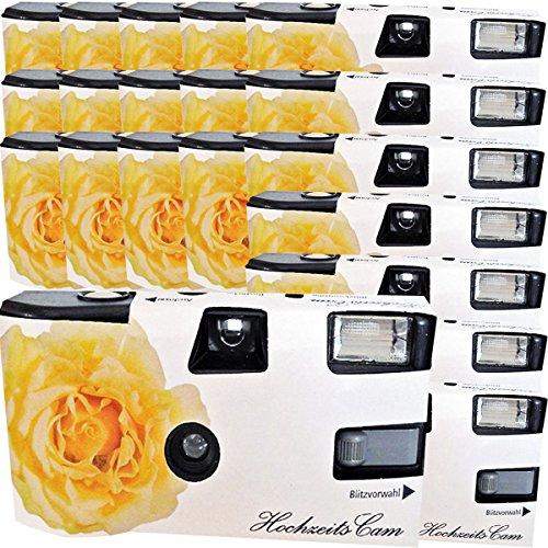 20x boda Cámara/cámara desechable PHOTO PORST 'crema amarillas de bodas Rose (con flash luz y pilas, por 27 fotos, ISO 400 Fuji)