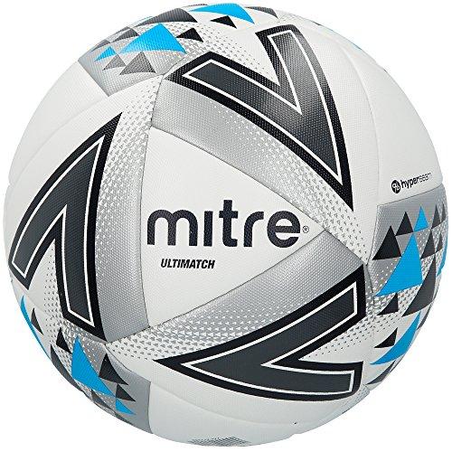 Mitre, ultimatch match, pallone da calcio, unisex adulto, bianco (white/silver/blue), 4