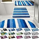 Design Badematte | rutschfester Badvorleger | viele Größen | zum Set kombinierbar | Öko-Tex 100 zertifiziert | viele Muster zur Auswahl | Gestreift - Blau (50 x 60 cm)
