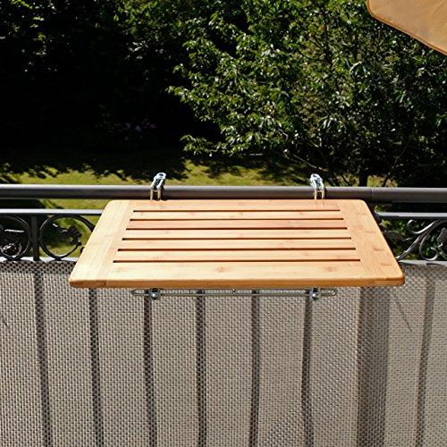 Balkonhängetisch Bambusholz 40 x 60cm, Balkonklapptisch aus Bambusholz, Balkontisch klappbar für Balkongitter & -Brüstung