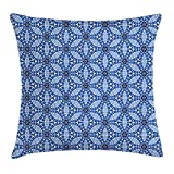 Blue Floral Throw Pillow Cushion Cover, Mosaic Style Six Pointed Stars Circles and Hexagons Ornate Shapes, Decorative Square Accent Pillow Case, 18 X 18 inches, Blue Dark Blue and White