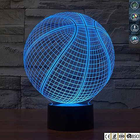 Jawell 3d Illusion lampe Veilleuse Basketball 7couleurs changeantes Touch USB Table Nice Cadeau Décorations de jouets