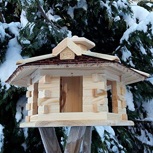 Vogelhaus Vogelhäuser Vogelfutterhaus Vogelhäuschen aus Holz Schreinerarbeit Gaube Braun sehr Groß XXL - 3