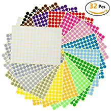 Witasm Pegatina Redonda, 5280 Piezas (puntos) de Diámetro 1cm con 16 Colores Etiquetas Adhesivas Circulares Removibles [Totalmente 32 hojas]