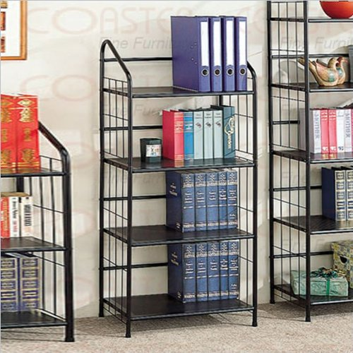 Book Shelf/Bookcase in Black Metal Frame with 4 Tiers of Shelving Discount
