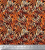 Soimoi Naranja seda Tela leopardo y tigre piel de animal tela artesanal impresa por metro 44 Pulgadas de ancho