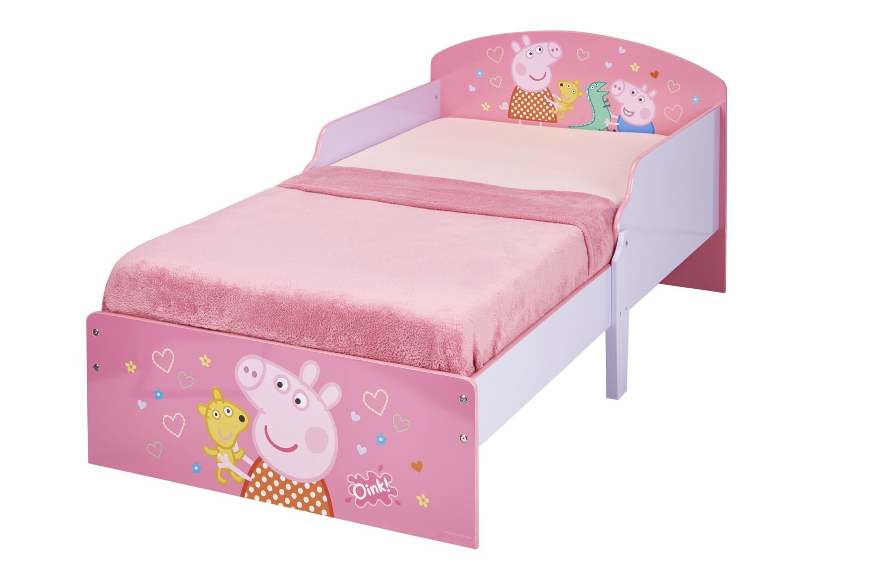 Peppa Pig Kids Toddler Bed by HelloHome Peppa Pig. Snuggle in after a day of play in this Peppa Pig Toddler Bed Perfect size for toddlers, low to the ground with protective and sturdy side guards to keep your little one safe and snug Fits a standard cot bed mattress size 140cm x 70cm, mattress not included. Part of the Peppa Pig bedroom furniture range from HelloHome 20