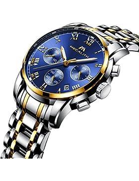 [Gesponsert]Herren Edelstahl Uhren Männer Chronograph Luxus Design Wasserdicht Datum Kalender Armbanduhr Geschäfts Beiläufig...